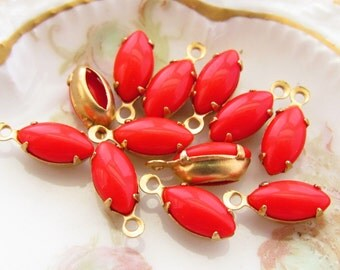Opaque Cherry Red 10x5mm Navette Glass Stone Drops in Brass Charm Settings - 6