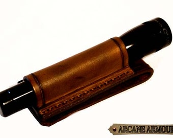 Mini Maglite holster Leather  (Brown) (Holster only no torch)