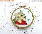 SHOP CLOSING SALE - Kitty Christmas Embroidery Hoop Ornament - Merry Cat Holiday Ornament - Light Gray Kitten with Green Polka Dots