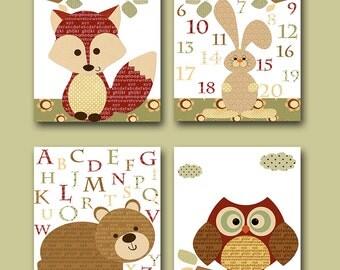 Red Brown Cream Fox Decor Decor for Nursery Canvas Bear Alaphabet Hare Numbers Baby Boy Wall Decor Baby Room Decor set of 4