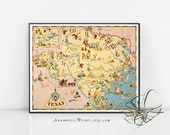 TEXAS MAP PRINT - vintage picture map - whimsical gift idea for many occasions - beach house art - framable map print home decor wall art