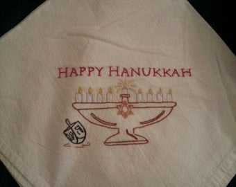 Flour sack Dishtowel - Happy Hanukkah