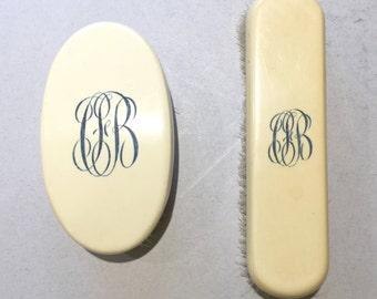 Antique clothes brushes, Celluloid handles, Monogrammed brush handle, Bristle brush