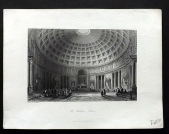 Italy 1846 Antique Print. The Pantheon, Rome