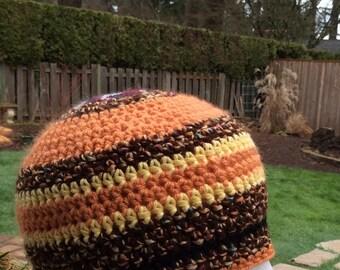Simple orange brown toned crochet beanie hat