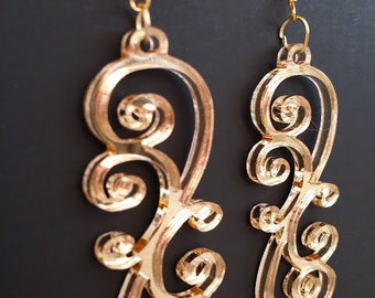 GOLD MIRROR Swirly Chandelier Earrings Laser Cut and Engraved Bar Necklace Mirror Acrylic