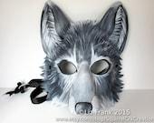 Leather Grey Wolf Mask, Gray wolf, Animal mask, Fursona, Halloween Costume, Theater,  Mardi Gras,  Halloween Mask, Cosplay, Fantasy mask