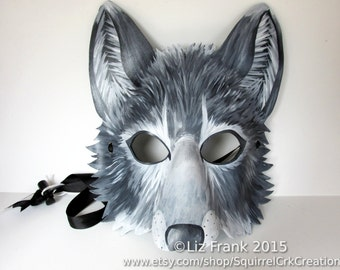 ON SALE through OCTOBER! Leather Grey Wolf Mask, Halloween Costume, Theater Accessory, Mardi Gras,  Halloween Mask, Cosplay, Fantasy mask