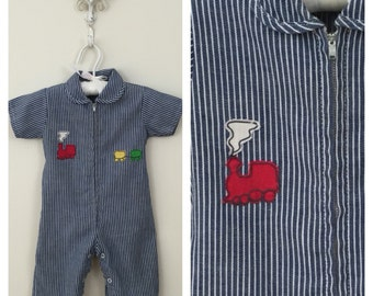 60s Cee Tee Playwear Train Applique Striped Jumpsuit Onesie, Size 0 to 6 Months