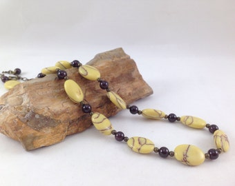 Yellow Turquoise and garnet necklace, garnet gemstone necklace, yellow necklace, energy necklace, healing jewelry