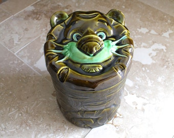 Green tiger cookie jar, Royal Sealy, rare avocado green tiger cookie jar, green ceramic or pottery cookie jar, Royal Sealy cookie jar