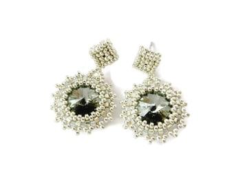 SALE:  Silver Beaded Earrings. Swarovski Rivoli Earrings.  Seed Bead Post Earrings. Beadwork. Beadwoven Jewelry.