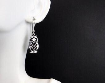 SALE:  Little Owl Earrings.  Sterling Silver Drop Earrings. .925 Sterling Silver.