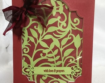 With Love and Prayers - Sympathy - Get Well card - Burgundy - Large Window card