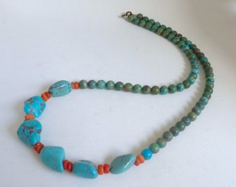 1970's Vintage Turquoise and Coral Long Beaded Boho Necklace