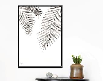 Monochrome painting, original watercolor, Palm leaf print, black white art, tropical leaf, leaves, minimalist home, A3 art print, black ink
