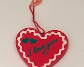 Valentine's Day Heart Handmade Wood #I Love You Heart Ich Liebe Dich Wedding Baby Party Favor Heart Gift Ornament Germany