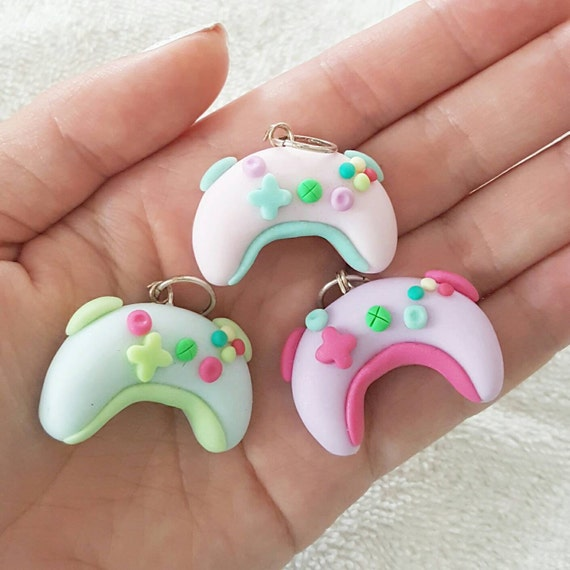 Kawaii Xbox Controllers, Candy Controllers Polymer Clay Charm, Miniature, Polymer Clay Pendant, Pastel, pendant, Kawaii, Chibi, Clay Charm