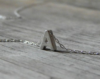 Silver monogram necklace, Letter necklace, Monogram pendant necklace, Silver initial necklace, Initial jewelry