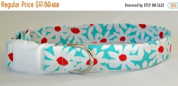 """Sale 50% Off Cute Turquoise Floral Dog Collar - """"Daisy Doolittle""""-NO EXTRA CHARGE for colored buckles"""
