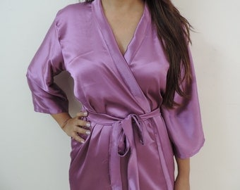 Code: H-8 Satin Solid Color Kimono Crossover patterned Robe Wrap - Bridesmaids gift, getting ready robes, Bridal shower favors, baby shower