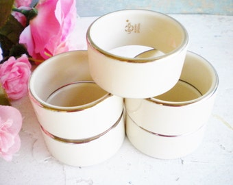 Lenox Napkin Rings Gold And Cream Napkin Holders Marked Lenox Special For Serving, Wedding Decor, Tea Party ,Holiday Decor Set of 6