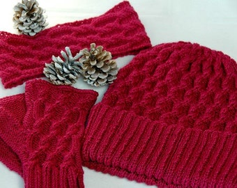 "Hat, Head band & Fingerless Mittens Set ""Campania Island"", hand knit with unique cable design in soft Merino-Bamboo Blend - READY TO SHIP"