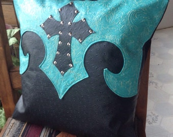 New western black faux ostrich and turquoise faux leather cross pillow cover