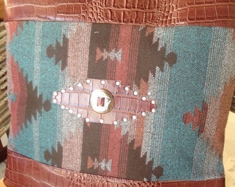 On Sale Western print with brown faux alligator faux leather pillow cover