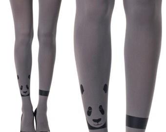 Tights - Black Panda Print On Grey Tights - Funky Tights | designed tights | Printed tights | winter accessories | Free Shipping| F232-MGB