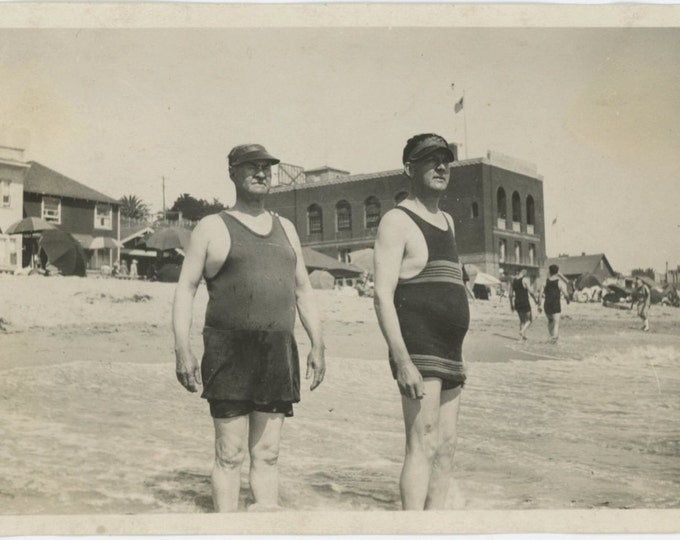 Papa George & John, c1910s Vintage Snapshot Photo (67482)