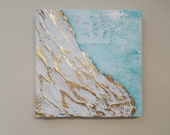 Angel Wing Art, Guardian Angel, Abstract wing wing on canvas with gold leaf, ethereal, heavenly 10 x 10
