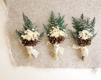 Cedar Boutonniere, Winter Wedding Boutonniere, Dried Flower Boutonniere, Mens Lapel Pin, Woodland Wedding Boutonniere, Boutineer