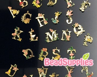 CH-ME-02328S -  Gold plated, woodland alphabet , you choose you own letter, 1 pc or 4 pcs