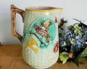 Antique Majolica Pitcher Victorian Bird and Fan Motif