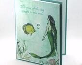 Mermaid card, voice of the sea, underwater, ocean creatures, flounder fish blank card