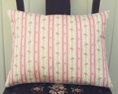 pretty vintage pink ticking stripe pillow cover 12x16