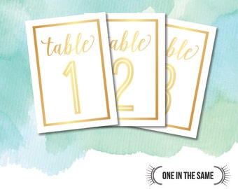 Wedding Table Numbers - INSTANT DIGITAL DOWNLOAD - Gold Foil Effect - Modern, Elegant and Classy