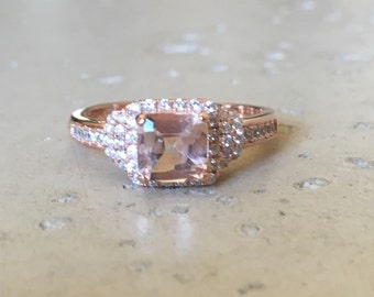 Art Deco Morganite Ring- Anniversary Ring- Statement Ring- Square Ring- Morganite Ring with Cz- Unique Ring- Engagement Ring- Rings for Her