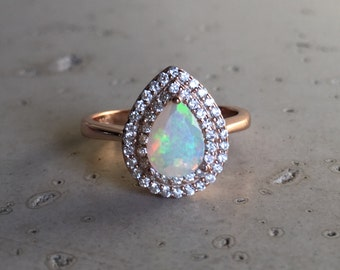 Halo Opal Engagement Ring- Rose Gold Opal Ring- Opal Statement Ring- Pear Shape Opal Ring- October Birthstone Ring- Opal Promise Ring