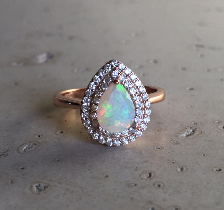 halo opal engagement ring rose gold opal ring opal statement. Black Bedroom Furniture Sets. Home Design Ideas