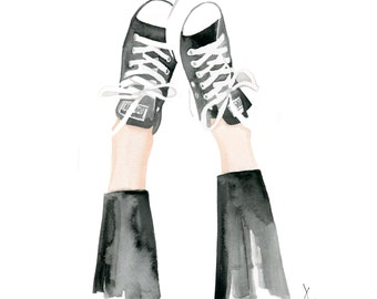 Kickin up my Chucks, print from original watercolor and mixed media fashion illustration by Dena Cooper