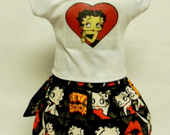 Betty Boop Theme Outfit  For 18 Inch Doll Like The American Girl