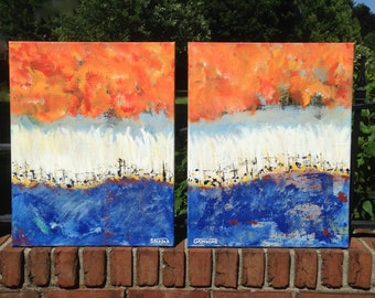 "ORIGINAL - Double Panel  ""Moving forward""  ABSTRACT  - one-of-a-kind ---- size   ""40 X 32""  Acrylic on canvas"