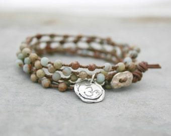 Yoga Bracelet - Beaded Wrap Bracelet - Bohemian Wrap - Impression Jasper Gemstone Bracelet -  Om Sterling Silver Charm