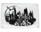 Hogwarts Castle and Golden Snitch - Harry Potter shadow hand cut paper craft