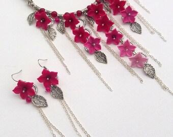Ombre fuschia jewelry - Polymer jewelry - Light pink fuschia  - Handmade Buttercups necklace earrings jewelry set
