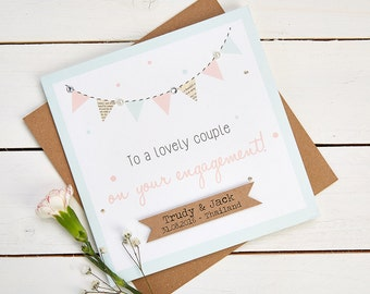 Engagement Card Personalised Pastel Bunting