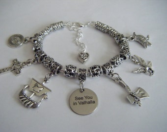 VIKINGS History Channel Charm Bracelet See You in Valhalla Ragnar Lagathar Floki Rollo Viking Ship Axe Warrior Thor Shield Maiden Dragon