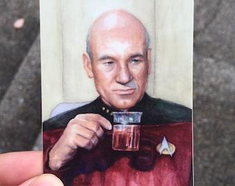 Captain Picard Stickers SET Tea Earl Grey Hot, Star Trek Art, Picard Sticker, Stocking Stuffers, Geek Stickers, Durable Vinyl Stickers